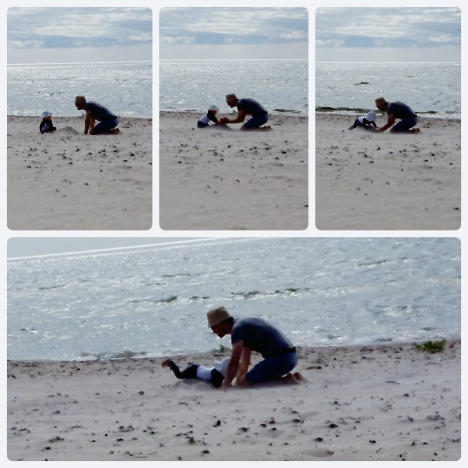 bygga sandslott med ettåring